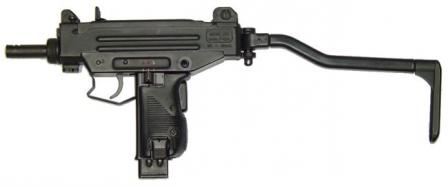 Micro-Uzi submachine gun with shoulder stock opened.