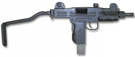 Mini-Uzi submachine gun with shoulder stock opened.