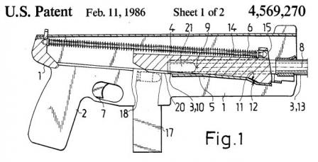 Diagram from USpatent, issued to Jali Timari for design of the Jati-Matic SMG.