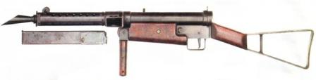 STEN Mk.I (STEN Mark 1) submachine gun, with magazine removed.