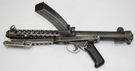 Sterling L2A3 / Mk.4 submachine gun, left side, butt folded.