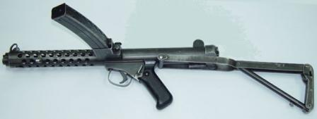 Sterling L2A3 / Mk.4 submachine gun, left side, butt retracted.
