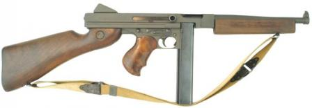 Thompson M1A1 submachine gun with 30-round magazine.
