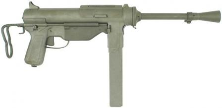 M3A1 submachine gun. Note enlarged dust cover, absence of a cocking handle and optional flash hider.