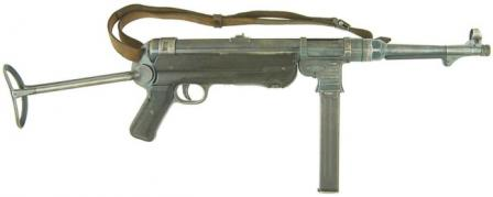 MP-40 submachine gun, with shoulder stock opened.