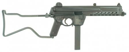 Walther MPL submachine gun, right side view, with buttstock in opened position.