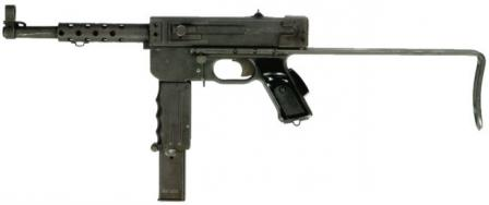 MAT-49 submachine gun, left side.