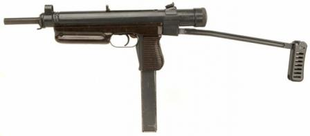 Sa.25 submachine gun, with folding butt in opened position, caliber 9mm.