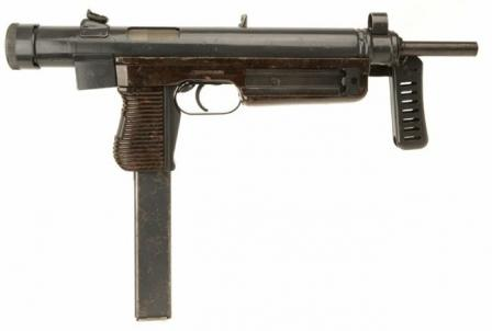 Sa.25 submachine gun, with folding butt in folded position.