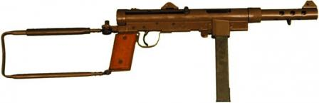 Carl Gustaf Kpist M / 45B submachine gun with fixed magazine housing.