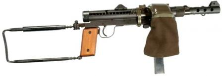 Carl Gustaf M/45B submachine gun fitted with typical Swedish accessory - a catcher bag for spent cases.