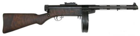 SuomiM/31 submachine gun with 71-round drum magazine, standard version.