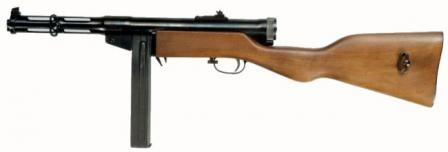Suomi M 37-39submachinegun with short barrel, produced under license in Sweden by HusqvarnaVapenfabrik (original M37 weapons were chambered for 9x20 Browning Longammunition, modified M37-39 - for 9x19 Luger ammunition).