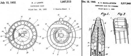 Patent diagrams explaining(left to right) 40- and 71-round drums designed by Lahti and 50-roundbox magazine designed by Schillstrom.