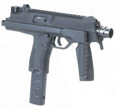 The B+T MP 9 submachine gun, with shoulder stock folded.