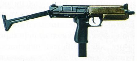 First prototype of SR-2 Veresk submachine gun. It had an Uzi-type under-foldingshoulder stock and wooden furniture.