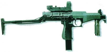 SR-2M - the latest version of Veresk SMG, with collimating {Red Dot) sightattached and shoulder stock extended.