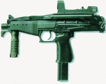 SR-2M Veresk SMG with shoulder stock folded.