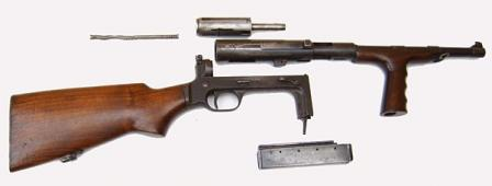 UD M42 submachine gun disassembled.