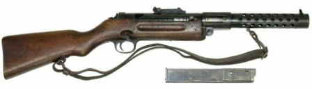 Schmeisser MP-28/II submachine gun, with box magazine shown separately.