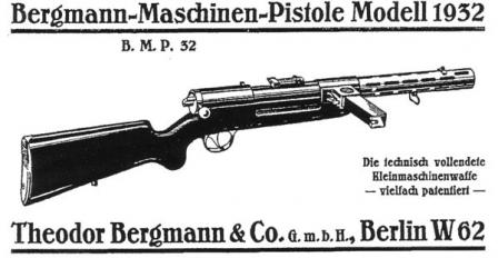 Cover image of the original instruction manual for Bergmann MP-32 submachine gun.