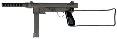 Smith & Wesson M76 submachine gun, left side; shoulder stock opened.