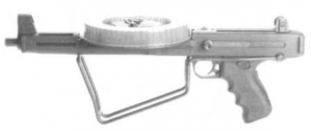 MGV-176 submachine gun, butt folded.