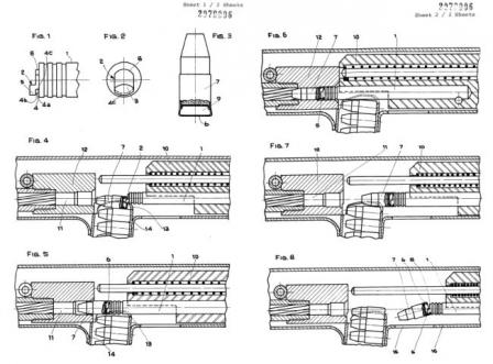 Diagram from British patent (applied for in 1981) for basic bolt and ejection system of Benelli CB-M2 submachine gun.