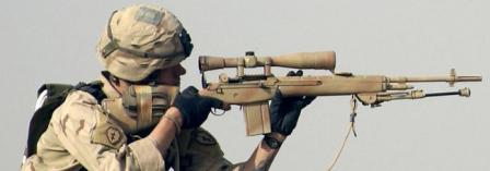 US Army sniper with re-issued M21 sniper rifle fitted with new scope mount and telescope sight in Iraq, 2006.