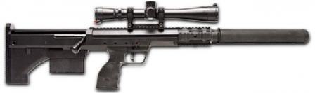 "Desert Tactical Arms Stealth Recon Scout (SRS) ""Covert"" sniper rifle with integrated silencer."