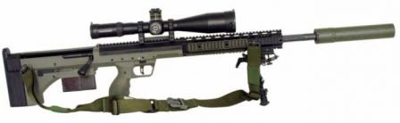 Desert Tactical Arms Stealth Recon Scout (SRS) sniper rifle in .338 Lapua Magnum, with optional silencer.