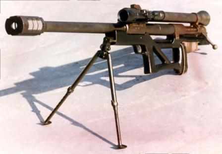 RT-20 antimateriel rifle. Note the reactive counter-recoil tube above the barrel.