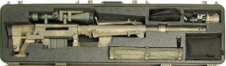 CheyTac Intervention M200 rifle in the carrying case.