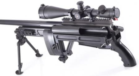 "RPA ""Rangemaster"" sniper rifle with stock folded."
