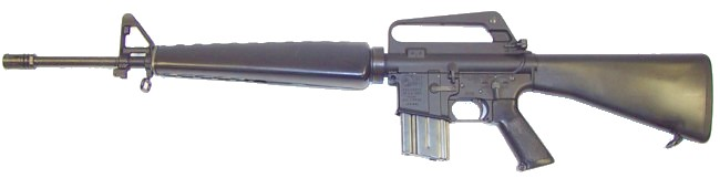 M16A1 rifle with 20-round magazine, left side