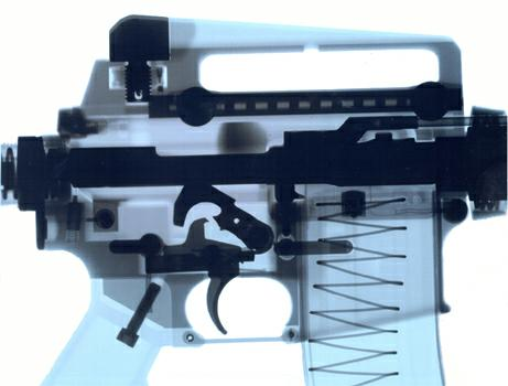 See M16A3 receiver X-ray image. Aluminum parts are in blue color, steel parts are black