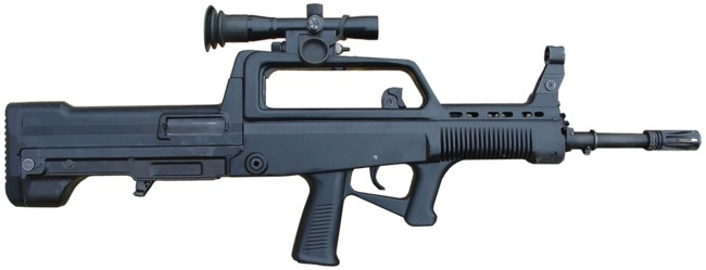 5.8x42mm QBZ-95 assault rifle, right side view; magazine is removed and a 4X telescope sight is installed