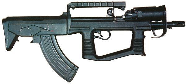 7.62mm prototype A-91 bullpup assault rifle, as made in mid-1990s. Note unusual position of the integral 40mm grenade launcher, which is mounted above the barrel.