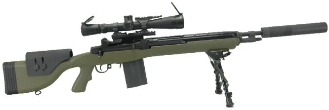 M14 Designated Marksman Rifle (DMR), as issued by US Marine corps. This particular rifle is fitted with quick-detachable sound moderator (silencer).