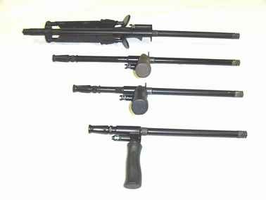 Comparison of various AUG barrels, from top to bottom: LMG/heavy barrel with bipod;standard rifle barrel; carbine barrel; SMG barrel.