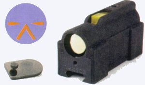 CR-21 1X optical sight with aiming reticle shown at left