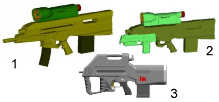Some of the early OICW configuration alternatives (late 1990s). 1 - combined 5.56mm rifle and 20mm launcher (present configuration); 2 - 20 mm launcher with detachable 4.6mm HK PDW submachine gun; 3 - 20mm launcher in the standalone configuration.