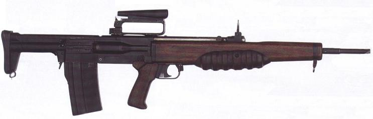 EM-2 assault rifle, officially adopted in Britain as Rifle, Automatic, No.9 Mk.1 but never put into service. Note that the backup sights are in raised position.