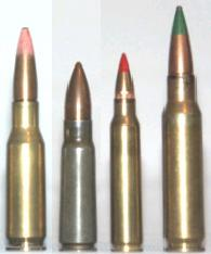 From let to right: British experimental .280 (7x43mm) cartridge for EM-2; Soviet 7.62x39mm M43; US/NATO 5.56x45mm (.223 Rem); US/NATO 7.62x51mm (.308 Win).