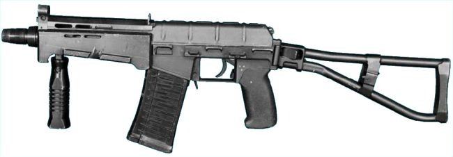 SR-3M Vikhr compact assault rifle, early model, with 'old pattern' 20-round magazine; shoulder stock and forward grip extended.