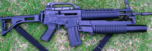 Pindad SS2-V2 assault rifle with Pindad-made 40mm grenade launcher
