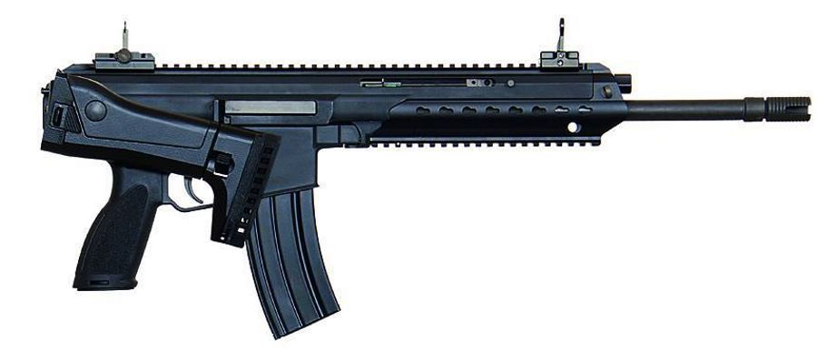 H&K 433 with shoulder stock folded