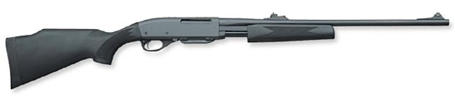 Remington model 7600 pump-action rifle with synthetic furniture.
