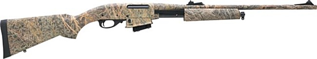 Remington model 7615 rifle in hunting configuration, with camouflaged finish.
