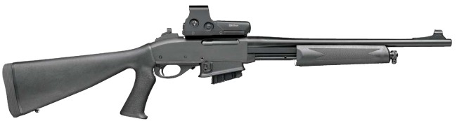 Remington model 7615 Police / Patrol carbine, with 10-round magazine, pistol-grip stock, ghost-ring rear sight and optional red-dot sight.